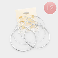 12 Set of 3 - Crystal Pave Metal Hoop Earrings