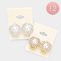 12Pairs - Crystal Pave Round Pearl Clip on Earrings