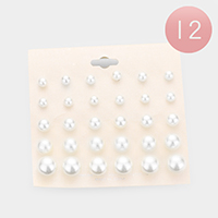 12 Set of 15 - Pearl Stud Earrings