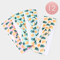 12PCS - Pineapple Print Knotted Stretch Headbands