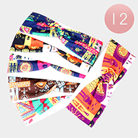 12PCS - Mixed Print Knotted Stretch Headbands