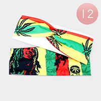 12PCS - Bob Marley Print Knotted Stretch Headbands