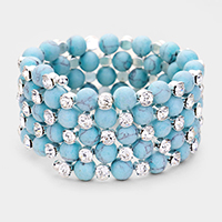 5Rows Natural Stone Ball Round Crystal Coil Bracelet