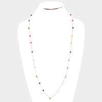 Metal Star Bead Station Long Necklace
