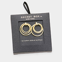 Secret Box _ 14k Gold Dipped Triple Open Circle Earrings