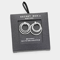 Secret Box _ White Gold Dipped Triple Open Circle Earrings