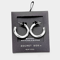 Secret Box _ White Gold Dipped Open Hoop Earrings