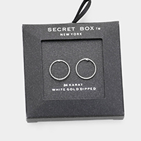 Secret Box _ White Gold Dipped Open Circle Stud Earrings