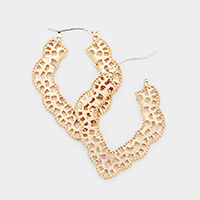 Moroccan Shape Metal Filigree Pin Catch Earrings