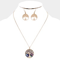 Abalone Round Metal Filigree Tree of Life Pendant Necklace