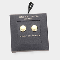 Secret Box _ 14k Gold Dipped Round Stud Earrings