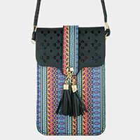 Pattern Tassel Touch View Cell Phone Cross Bag