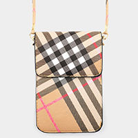 Plaid Check Pattern Touch View Cell Phone Cross Bag