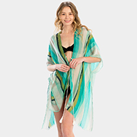 Multi Color Striped Cover Up Poncho