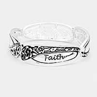 'Faith' Floral Embossed Metal Stretch Bracelet