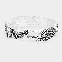 'Pray' Floral Embossed Metal Stretch Bracelet