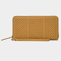 Woven Faux Leather Zipper Wallet
