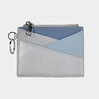 Faux Leather Zipper Coin Card Wallet