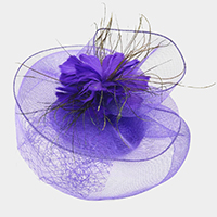 Center Floral Mesh Fascinator / Headband