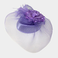 Floral Feather Mesh Fascinator / Headband