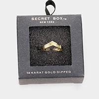 Secret Box _ 14k Gold Dipped Chevron Ring