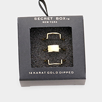 Secret Box _ 3PCS 14k Gold Dipped Rectangle Cuff Ring