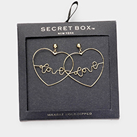 Secret Box _ 14k Gold Dipped 'Love' Open Heart Earrings