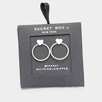 Secret Box _ White Gold Dipped Heart Open Circle Earrings