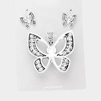 Stone Butterfly Magnetic Pendant