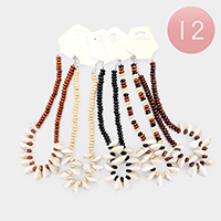 12PCS - Puka Shell Wood Beaded Necklaces