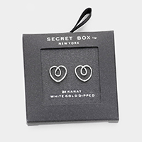 Secret Box _ White Gold Dipped Open Heart Stud Earrings