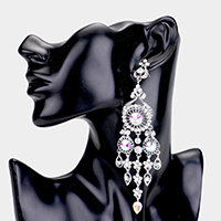 Oversized Rhinestone Pave Chandelier Evening Earrings