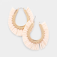 Raffia Tassel Fringe Pin Catch Earrings