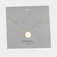 North Star Cubic Zirconia Round Brass Metal Pendant Necklace