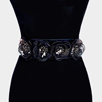 Mesh Bead Floral Elastic Stretchable Belt