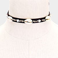 Puka Shell Beaded Faux Leather Choker Necklace