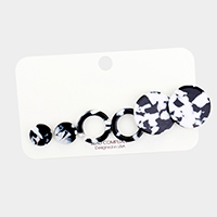 3Pairs - Celluloid Acetate Round Earrings
