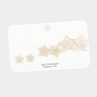 3Pairs - Celluloid Acetate Star Earrings