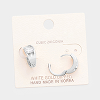 White Gold Dipped Round Cubic Zirconia Metal Earrings