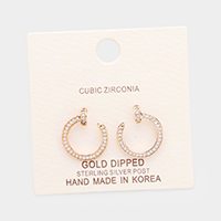 Gold Dipped Cubic Zirconia Metal Circle Stud Earrings