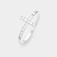 Pave Cubic Zirconia Cross Eye Ring