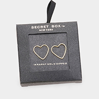Secret Box _ 14k Gold Dipped Open Heart Earrings