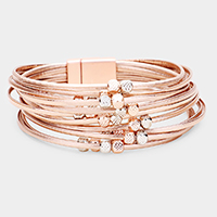 Metal Cube Faux Leather Multi Strand Magnetic Bracelet