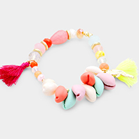 Colorful Puka Shell Detail Parrot Tassel Stretch Bracelet