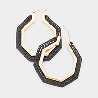 Punch Hole Leather Octagon Pin Catch Earrings