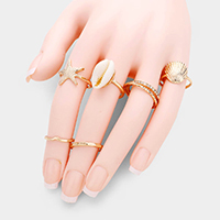 7PCS - Crystal Embellished  Starfish Shell Metal Rings