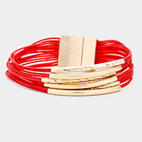Metal Tube Faux Leather Multi Strand Magnetic Bracelet