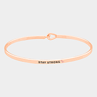 'Stay Strong' Brass Thin Metal Hook Bracelet