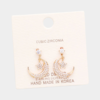 Gold Dipped Cubic Zirconia Moon Star Metal Earrings