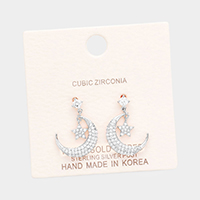 White Gold Dipped Cubic Zirconia Moon Star Metal Earrings
